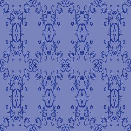 A blue pattern of sketched swirly designs repeated to make an elegant pattern.