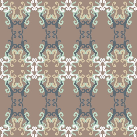 An abstract seamless pattern of earthy colors and swirly design.