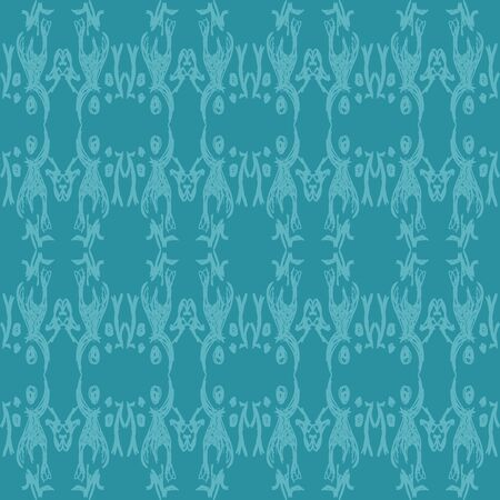 An aqua colored seamless pattern made from sketches repeated in an elegant design. Illustration