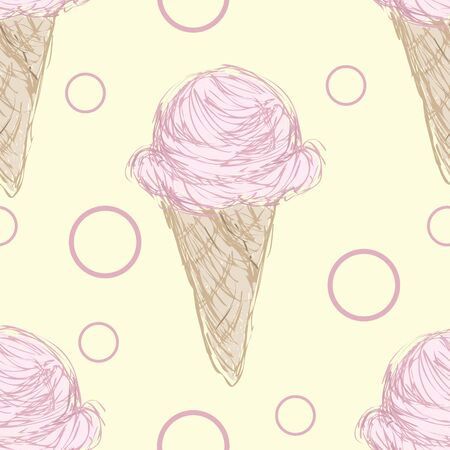 A seamless pattern of pink ice cream in a cone on a yellow backdrop.