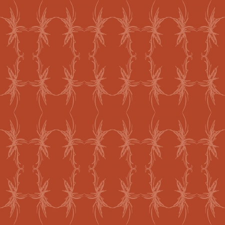 A sketched, jagged seamless pattern of orange shapes on red.