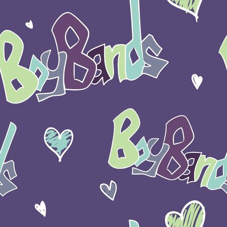 A seamless pattern with the words boy bands and hearts on it.