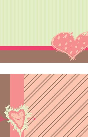A set of two card designs with a heart theme and the same colors.
