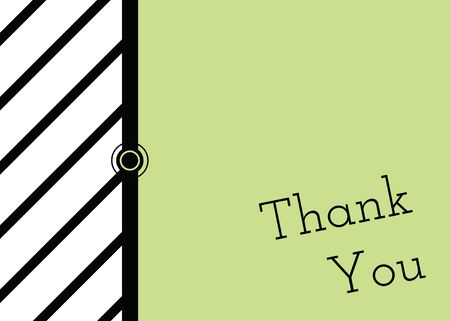 A bold green, black, and white thank you card. Illustration