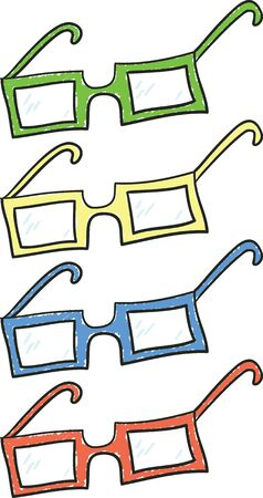 eyewear: A set of glasses in four different colors.