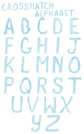 An alphabet set made up of crosshatch  marks.
