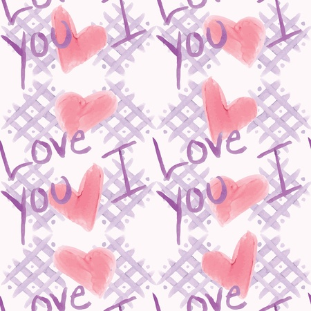 A marker or watercolor stylized pattern of checkerboard, hearts, and the words I Love You.