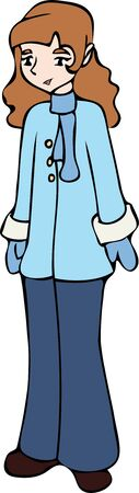 A young girl dressed in a blue winter coat, scarf, and mittens.