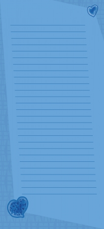 A vertical blue lined memo page with lines at a slight angle and heart embellishments.