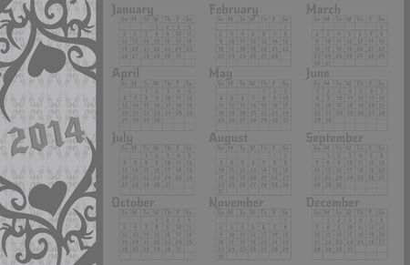 A 2014 calendar page in a gothic style.