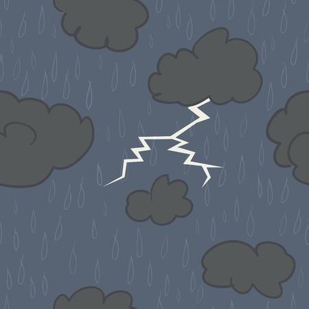 雨と暗い青色の背景で雷と嵐の雲のシームレスなパターン。 写真素材 - 22175937
