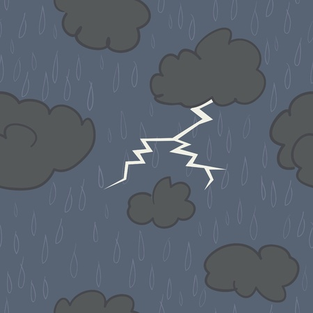 A seamless pattern of rain and storm clouds with lightning on a dark blue background.