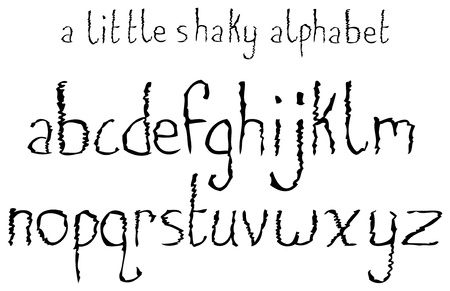 A lowercase font set with a shaky theme.