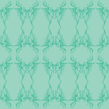 A seafoam and green seamless pattern made from loose sketches.  Illustration