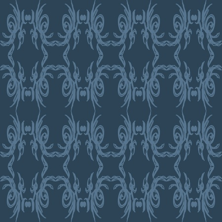 A bold, sketched seamless pattern that is light blue on a dark blue background.