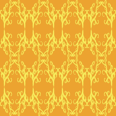 An orange and yellow design with curls and diamond shapes seamless pattern.