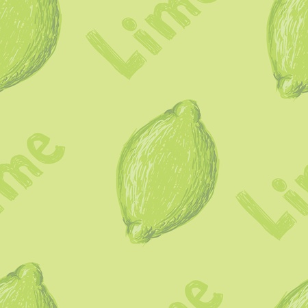 A seamless pattern of a sketched lime fruit and the word lime. Illustration