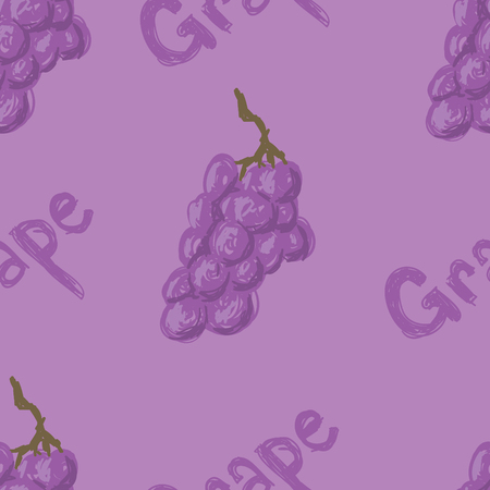 A seamless pattern of sketched grapes and the word grape. Illustration