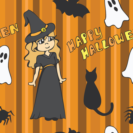 A cute halloween themed seamless pattern with a witch, ghosts and other various creatures. Illustration