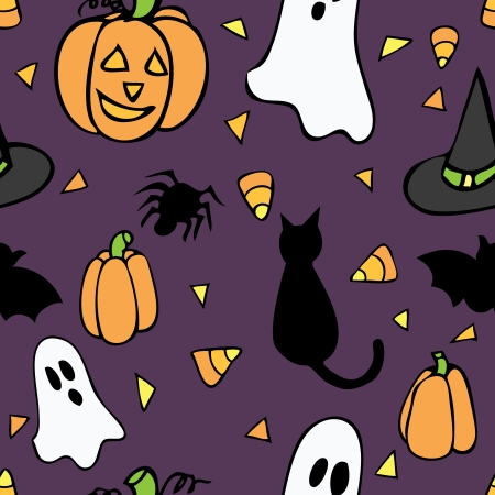 A cute seamless pattern of Halloween themed items on a purple background.