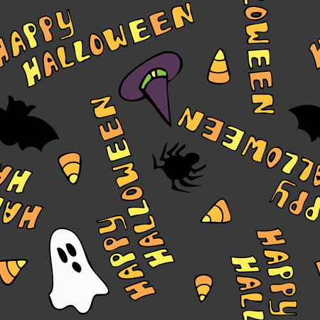 A cute seamless pattern that says Happy Halloween and has halloween themed items.  Illustration
