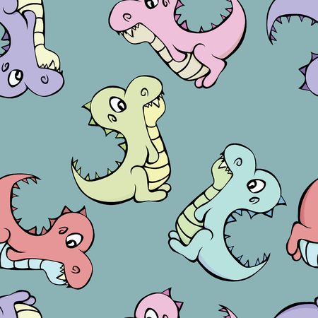 A seamless pattern of dinosaurs varying in color on a green background.