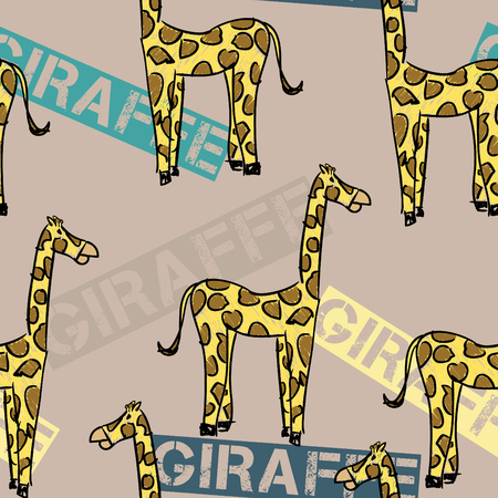 A seamless pattern of a simple sketch  of a yellow giraffe with brown spots and the  word giraffe on a brown background.