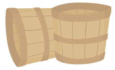 A pair of two empty wooden buckets.