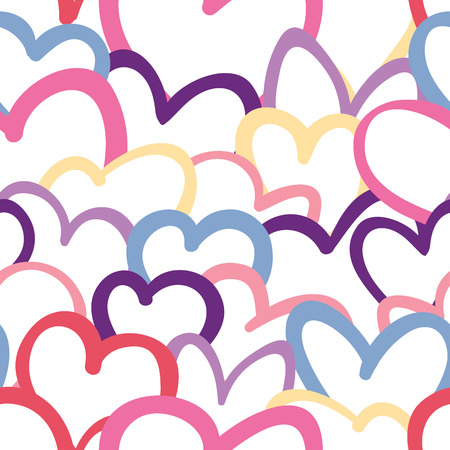 A seamless pattern of colorful hearts overlapping each other.  Illustration