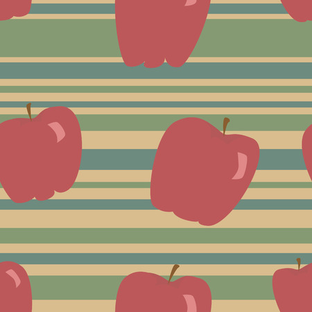 A seamless pattern of red apples on a blue, green and tan striped background. Illustration