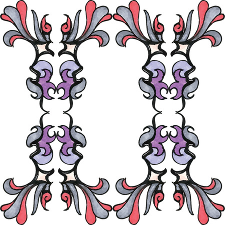 greys: An elegant pattern with a watercolor or marker style using greys purples and reds.