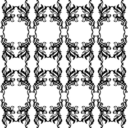 An ornate black and white seamless pattern with elegant scrolls and curves   Illustration