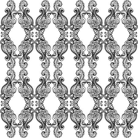 A black and whiteornate pattern with swirls, waves, and bubbles in the design.