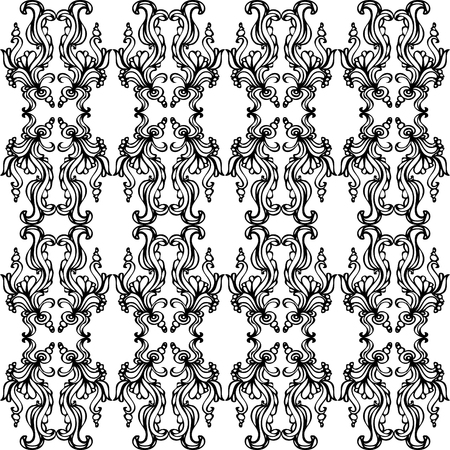A black and white ornate pattern with scrolls, waves, and bubbles in the design   Illustration