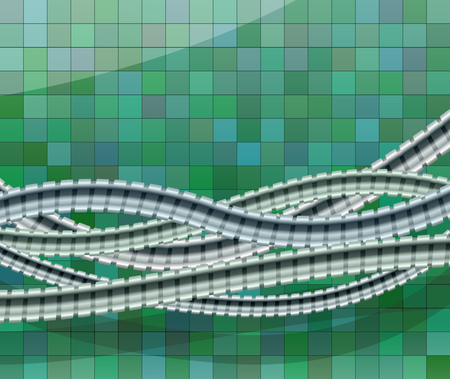 Metallic shower hoses against a tiled wall. Abstract  illustration Illustration