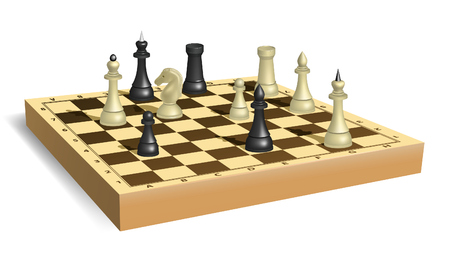 bishop chess piece: Some chess on chessboard. Black king in checkmate position.  illustration. Mesh is used Illustration