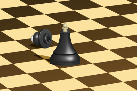 Black chess queen with white pawn inside.  illustration. Mesh is used