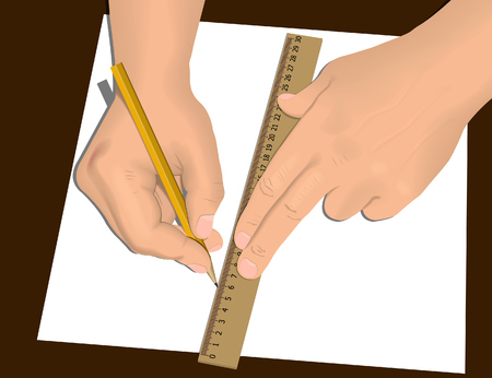 draftsman: Two hands drawing with pencil and wood ruler on white sheet of paper.  illustration. Mesh is used