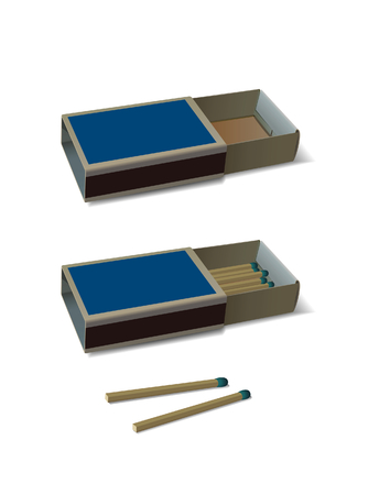 sulfur: Two boxes of matches - filled and empty. illustration