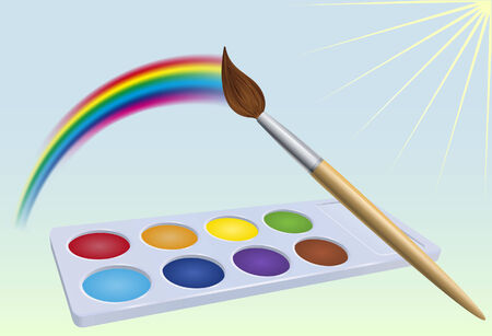 Brush moves along sky above colour-box and leave rainbow trace. illustration Illustration