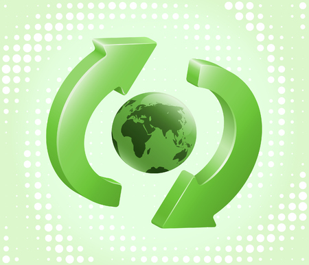 Green recycling-refreshing symbol with Earth in its center. illustration Illustration
