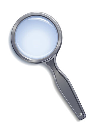 Magnifying glass with grey plastic body and bluish lens and shadow.  illustration