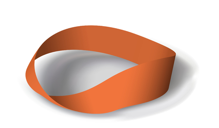 undirected: Mobius band with 180 degrees rotation.  illustration. Mesh is used Illustration