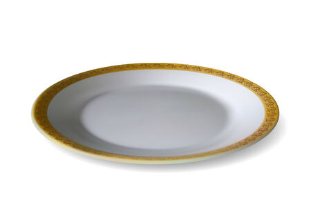 chinaware: Plate with ornamented edge on white background. illustration. Mesh is used Illustration