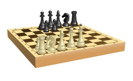 체스 판에 흑백 체스 세트. 메쉬 사용