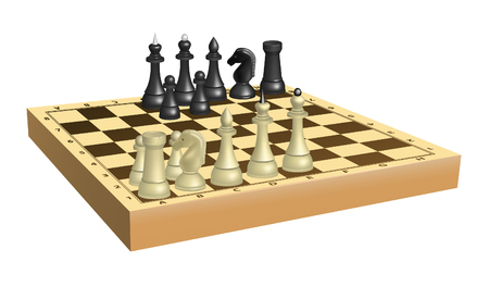 Set of black and white chess on chessboard. Mesh is used