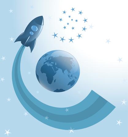 earth moving: Cohete mover alrededor de la tierra