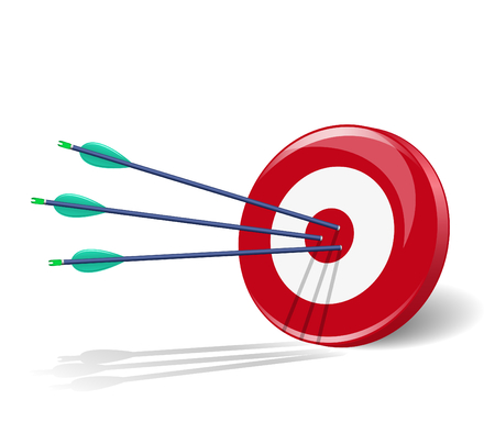 Three arrows in the center of target Illustration