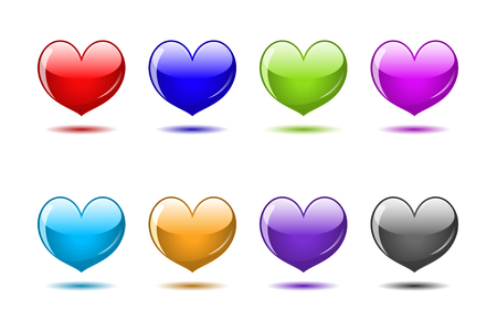 Colored glossy hearts. Web icons set Stock Vector - 8572905