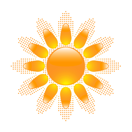 Glossy sun icon with halftone sun shape on background Stock Vector - 8572904